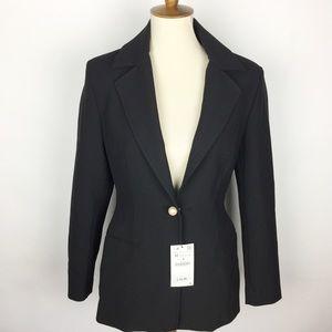 ZARA Woman Black Pearl Button Blazer NEW